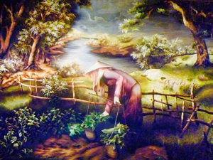 Шелковая картина Вьетнамка Далат